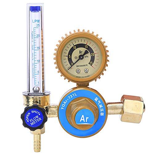 Regulador del medidor de flujo Argon Co2 Mig Tig, regulador del medidor de flujo Argon Co2, escalas transparentes, rango de manómetro de 0-25Mpa para una fácil lectura Mig