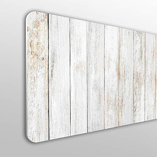 Megadecor Tête de lit décorative en PVC, 10mm Planches en bois vintage verticales, couleur blanche.