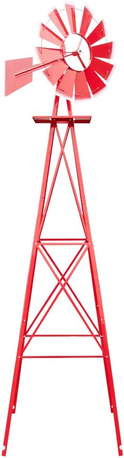 VINGLI 8FT Ornamental Windmill Backyard Garden Decoration Weather Vane, Heavy Duty Metal Wind Mill w/ 4 Legs Design, Red
