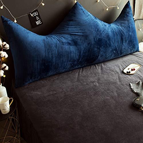 JiaQi Weiches Krone Grosse rückenlehne,Plüsch Lesen kopfkissen,Für Student Kind Bett kopfteil Kissen gepolstert Entfernbar Tatami Weiche Tasche-Blau 120x80cm(47x31inch)