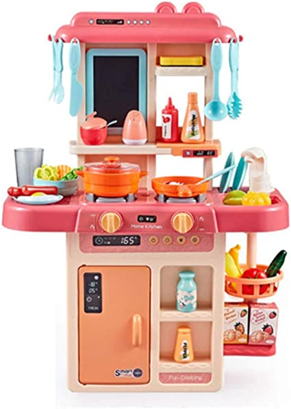 Jmfhcd Children S Toys Electronic Kitchen Set Little Chef Kitchen Simulation Water Spray With 42 Pcs Accessories Pink Wood Green A Sports Outdoors