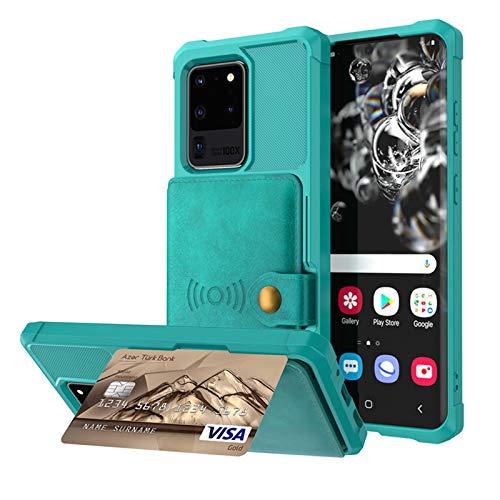 HHZY Cover Compatibile con Samsung S21 Plus Custodia in Pelle A Portafoglio Bottoni con Porta Carte Staffa Morbido TPU Antiurto Back Cover,Verde,for Samsung S21