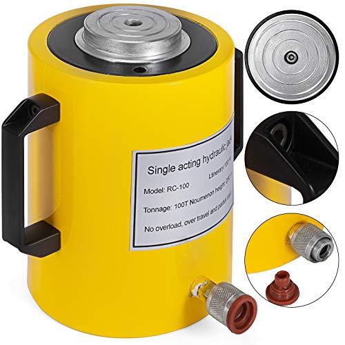 Mophorn 100T 6Inch Stroke Hydraulic Cylinder Jack Solid Single Acting Hydraulic Ram Cylinder 150mm Hydraulic Lifting Cylinders (100T 6Inch)