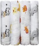 CuddleBug Muslin Baby Swaddle Blankets for Boys and Girls Size Large 4 x 4 Feet – Muslin Cotton 4 Pack (Safari Friends)