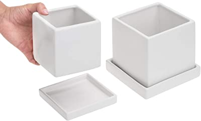 MyGift Matte White Finish Ceramic Square Planters with Removable Saucers and Drainage Holes, Set of 2