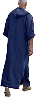 Mens Abaya Thobe Kaftan Linen Hooded Henley Shirt Arabic Shirt Robe with Pocket
