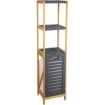 Estantería con cesto de bambú natural nórdica de 140x33x34 cm (Gris): Amazon.es: Bricolaje y herramientas