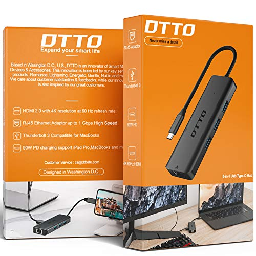 DTTO USB-C Hub 6-in-1 with 4K@60Hz HDMI, 1Gbps RJ45 Ethernet Adapter, 90W PD Power Delivery, 3X USB 3.0 Ports, Thunderbolt 3 Multiport Dongle for MacBook, iPad Pro, XPS, and More, Space Grey