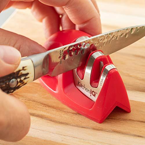 KitchenIQ EDGE GRIP 2-STAGE, RED Knife Sharpener, Standard