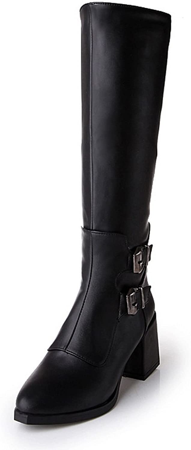 AdeeSu Womens Casual Pointed-Toe Slip-Resistant Buckle Urethane Boots SXC01971