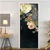 Pegatinas de Puerta Mural, extraíble Impermeable Autoadhesivo Pegatina de Puerta Mural de Pared Flor Floral Pintura al óleo Sala de Estar Dormitorio Puerta Pegatina de Papel Tapiz