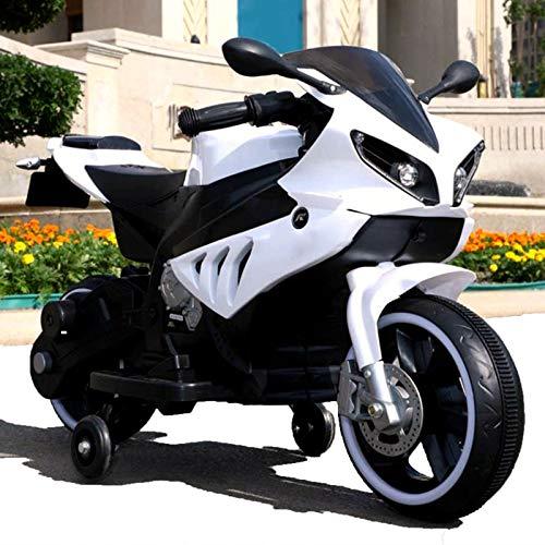 Motocicleta Eléctrica para Niños, Puede Sentarse En Motocicletas De Dos Ruedas, con Carro De Juguete De Educación Temprana con Música, Adecuado para Niños De 2 A 8 Años,Blanco