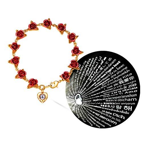 U7 Regalo día San valentín Pulseras de Flores Rosas bañado en Oro 18k Material latón Piedras corazón de Nano proyección 100 lenguas te Amo