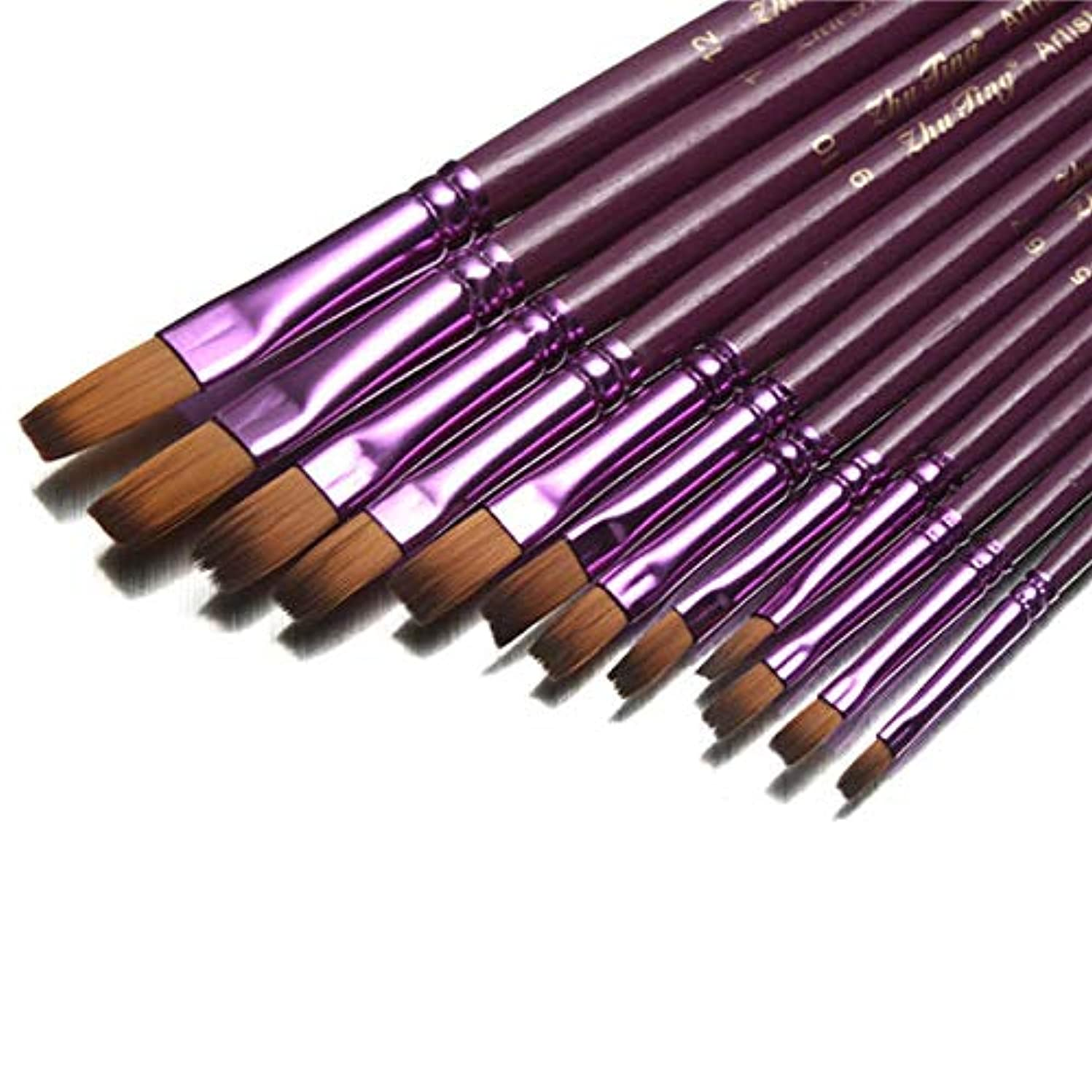 Tanchen 12pcs Flat Tip Round Tip Painting Brushes Artist Nylon Hair Watercolor Oil Drawing Pen