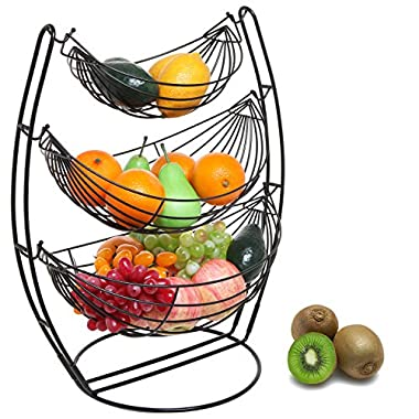3 Tier Black Triple Hammock Fruit/Vegetables/Produce Metal Basket Rack Display Stand - MyGift