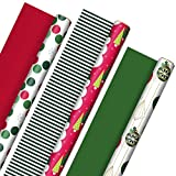 Hallmark Reversible Christmas Wrapping Paper (3 Rolls: 120 sq. ft. ttl) Retro Ornaments, Stripes,...