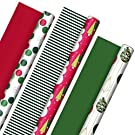 Hallmark Reversible Christmas Wrapping Paper (3 Rolls: 120 sq. ft. ttl) Retro Ornaments, Stripes, Polka Dots, Snowmen, Solid Red and Green