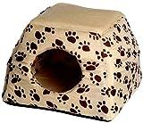 dobar 60170 Multi-Liegeplatz, Liegebett plus Kuschelhöhle in einem (ausfaltbar) für Katzen und kleine Hunde, 40 x 40 x 30 cm, beige