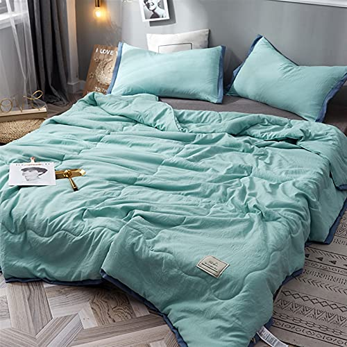 YYGQING Edredón de verano de algodón lavado súper suave para sofá, oficina, viajes, siesta, colcha de verano fresca (color: cian, tamaño: 150 x 200 cm)