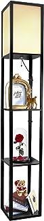 Xverycan Lampadaire sur pied salon, lampadaire de salon sur pied étagère, Étagère de lampe rétro avec douille E27, Étagère...