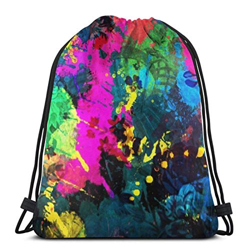 XCNGG Paint Splash Abstract Art Drawstring Bags Gym Bag,Drawstring Backpack Sports Gym Bag,Waterproof Sport Bags Tourism Daypack