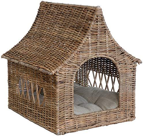 Katzen-Haus/Hunde-Bett aus echtem Rattan Hundekorb mit Dach, Korb inklusive Polster