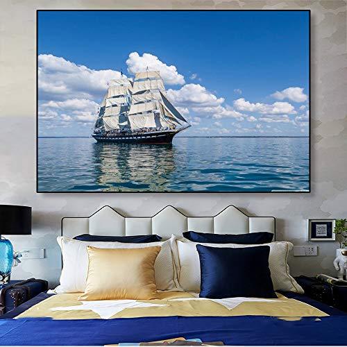AJleil Puzzle 1000 Piezas Cuadro Moderno de la Pintura del Arte de la navegación del mar Puzzle 1000 Piezas Adultos Gran Ocio vacacional, Juegos interactivos familiares50x75cm(20x30inch)