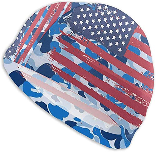 Best Old American Flag Swimming Cap,Comfortable Sport No-Slip Protect Ears Swimming Caps for Men and Women Bathing Cap to Keep Your Hair Dry Swim Caps for Long Hair Short Hair One Size