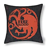 nostalgiaz lino y algodón manta decorativa Funda de almohada Funda para cojín (un juego de tronos casas Badages casa Targaryen)-18x 18