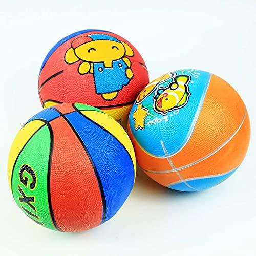 YCX Baloncesto de Goma de Dibujos Animados tamaño 3, Adecuado para niños pequeños de 1 a 3 años, con Bomba y Aguja de Bola, 3 Estilos se envían al Azar