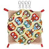 Sanpyl Lienzo Cuadrado + Tela de Felpa Suave 9,8 x 9,8 x 0,8 Pulgadas Cama para hamacas para Mascotas, Hamaca Tipo Jaula, Mascotas voladoras para Animales pequeños(Large, Color Owl)