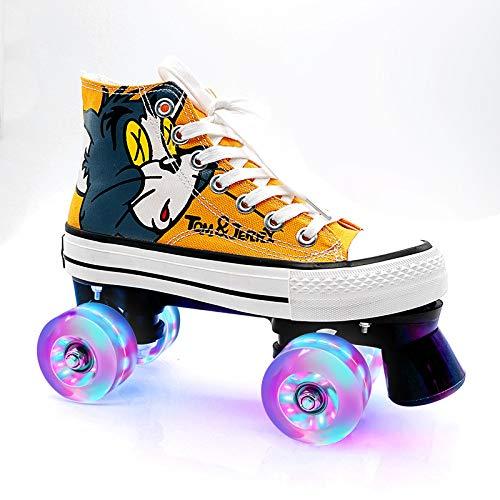 WEDSGTV Figure Skates Unisex Erwachsene, Rollschuhe 4-Rad Verstellbare Quad-rollschuhes, Jungen Mädchen,Yellow-42