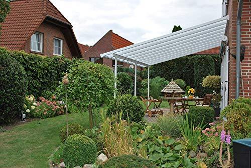 Hochwertige Aluminium Terrassenüberdachung, Terrassendach 400x850 cm (TxB) - weiß