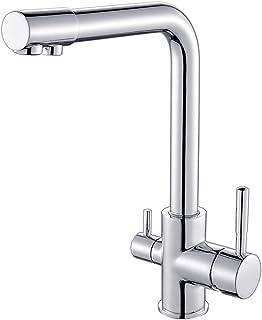 Auralum - Grifo de Cocina 3 Vias Osmosis Mezclador de Cocina Separate para Agua Filtrada/Agua Fría/Agua Caliente Grifo para Fregadero en Latón y Cromado