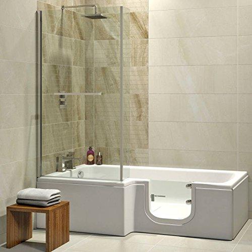 Badewanne 1700x850 mm / 170x85 cm HOSOLARNA mit Tür inkl. Duschaufsatz, Schürze und Ablauf, Rechte Ausführung