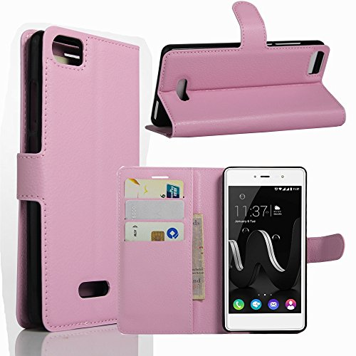 Tasche für Wiko Fever Special Edition Hülle, Ycloud PU Ledertasche Flip Cover Wallet Hülle Handyhülle mit Stand Function Credit Card Slots Bookstyle Purse Design rosa