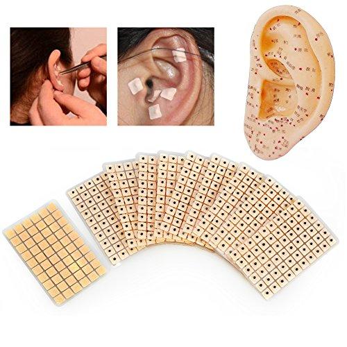 Graine d'oreille d'acupuncture, 600 pièces d'aiguille de stérilisation jetable en plâtre de graine d'oreille pour les oreilles, perles de peau, autocollants de massage, patch de presse d'oreille jetab