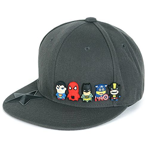 ililily Cute Superheroes Rubber Charms New Era Style Snapback Hat Baseball Cap (ballcap-1413-2)