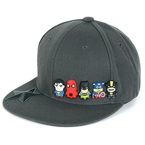 ililily Cute Superheroes Rubber Charms New Era Style Snapback Hat Baseball Cap (ballcap-1413-2)