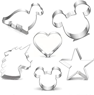 Cookie Cutter for Kids,Mickey Mouse Unicorn Dinosaur Heart Star Shapes Stainless Steel Cookie Cutters Mold for Cakes,Biscuits and Sandwiches(Set of 6)