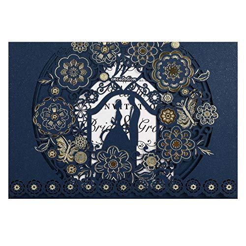CYSKY Hochzeit Einladungskarte 50 Stück Laser Geschnittene Hochzeitseinladungen Kit mit leerem bedruckbarem Papier und Umschlägen für Hochzeit, Verlobung, Jubiläum (Blau)