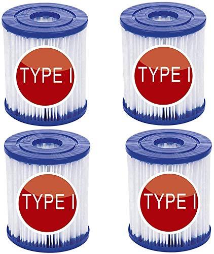 SSWD Bestway - Cartucho de filtro de piscina tamaño 1, pack doble, 8,0 x 9,0 cm, filtro para piscina Bestway 58381 tipo I para limpieza de piscinas (4 unidades)