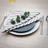 FILU Servietten 8er Pack Grau/Weiß gestreift (Farbe und Design wählbar) 45 x 45 cm - Stoffserviette aus 100% Baumwolle im skandinavischen Landhausstil - 3