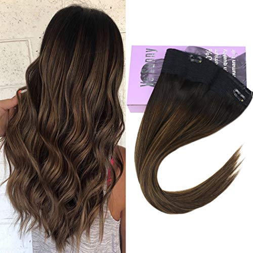 VeSunny 12inch Remy Hair Halo Extensions Balayage Human Hair Color #2 Darkest Brown to #6 Light Brown Highlighted Hidden Wire Hair Extensions 80g Human Hair Secret Crown Hair Extensions