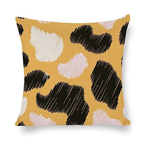 N/ A Animal Skins Funda de cojín decorativa de lino con diseño de leopardo, cuadrada, para sofá o sofá lp9gnwhfb23c, Lino, Como se muestra en la imagen, 20x20 inch