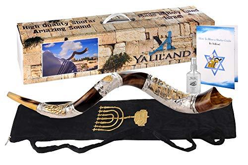 SHOFAR Polish Polished Silver Plated Set 30-32' Kudu Horn Yemenite Jerusalem + Bag + Spray + Guide + Carrying Box Case