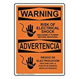 Señal de advertencia de riesgo de descarga eléctrica de desconexión de energía antes de servicio OSHA bilingüe Waring Signs Metal Private Propety Sign Funny Electrical