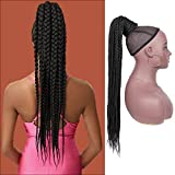 """Lexqui 30"""" Fully Handmade Braided Drawstring Ponytail Hair Extensions for Women Full and Super Lightweight Twisted Box Braids Hair Piece"""