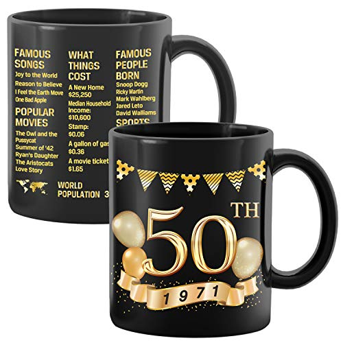 Greatingreat 1971 Old Time Information-50th Birthday Mug, Happy 40 Birthday Party, Turning 50 Birthday, 50th Bday For Her & Him, Fifty Birthday Mug, Milestone Birthday