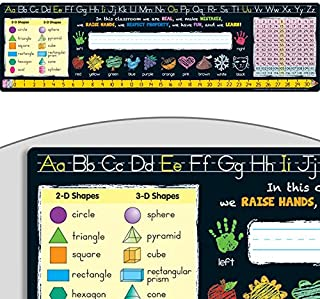 "Really Good Stuff Chalkboard-Style Desktop Helpers (Set of 24) – 18""x5"" Handy Desktop Reference for Numbers, Letters, Shapes, Colors and More – Durable Vinyl Self-Adhesive Resource for Student Desks"